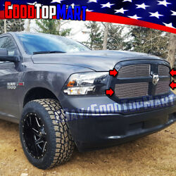 For Dodge Ram 1500 2013 2014 2015 16 17 Polished 4pc Upper Overlay Grilles Grill
