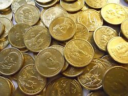 Lot Of 500 Better Circulated Gold Presidential Dollars. 2007-2011 Most Denver