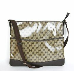 NEW Authentic GUCCI Crystal GG  Canvas Messenger Bag 374411 9790