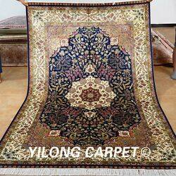 Yilong 5'x8' Blue Medallion Pictorial Living Room Carpets Hand Knotted Silk Rugs