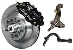Wilwood Disc Brake Kit,spindles,steering Arms And Lines,front,64-72,13 Rotors,blk