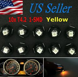 10x Yellow T4/T4.2 Neo Wedge LED Cluster Instrument Dash Climate Base Light Bulb