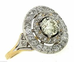 Antique 14k Yellow White Gold 1.87ctw Diamond Halo Engagement Cocktail Ring