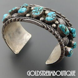 Frank Smiley Navajo 925 Silver American Turquoise Nuggets Feathers Cuff Bracelet