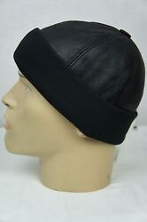 Black Shearling Leather Fur Knit Beanie Cuff Round Bucket Winter Ski Hat M XXL $16.00