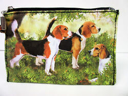 New Beagle Dog Zippered Handy Pouch Make up Coin Purse 3 Beagles Dogs By Ruth