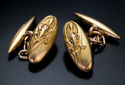 Early 1900s French Art Nouveau Gold Cufflinks