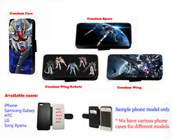 Gundam Wings Robots Anime Leather Card Phone Case For Samsung Iphone