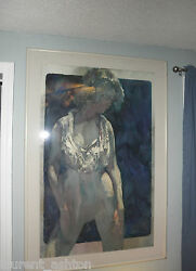 Robert Earle Wood Watercolor Neo-expressionism Mid Century Modern Semi-nude Pose