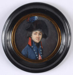 Portrait Of An Officer Of French Republican Army Fine Miniature 1795/1800
