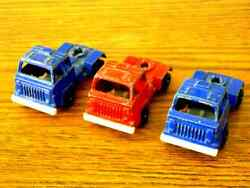 assorted tootsietoy trucks in blue red