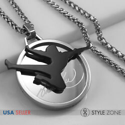 Stainless Steel Bruce Lee Logo On Round Pendant Jump Fly Kick Braid Necklace 13y
