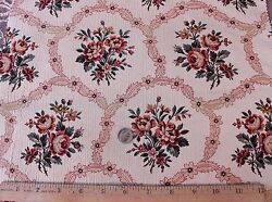 Antique French Silk Jacquard Home Dec Fabric C 1910roses In Cartouche Layout