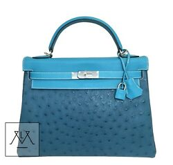 Hermes Kelly Bag 32cm Swift Clemence & Ostrich - Tri-Color - 100% Authentic