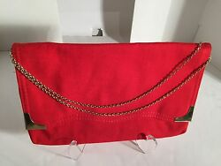 Red Clutch Purse Bag with Chain $18.00