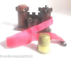 Wooden Castle. Tape Measure Pin Cushion Thimble Holder Rare Antique C1790and039s
