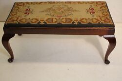 Antique Queen Anne Mahogany Piano Window Bench Original Needlepoint 19th C.