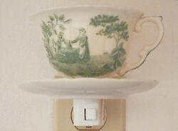 Maiden At A Well Hand Painted Decorator Porcelain Tea Cup And Saucer Night Light