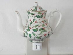 Holly And Berries Hand Painted Decorator Porcelain Tea Pot Plug-in Night Light