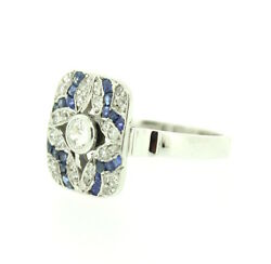Art Deco Style 18ct White Gold Dress Ring Old Cut Diamonds Blue Sapphires