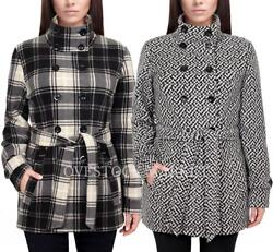 New Womens Ike Behar Double Breasted Fleece Jacket Soft Belted Coat Variety