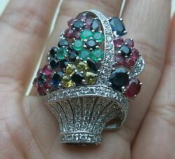 18K WHITE GOLD RUBY EMERALD SAPPHIRE CITRINE CZ MULTI COLOR BASKET FLOWER BROOCH
