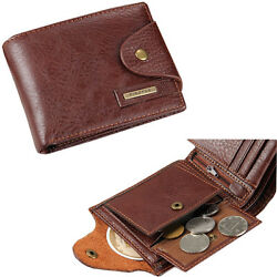 Men's Bifold Leather Card Holder Wallet with Flap Coin Pocket Convenient Purse $8.99