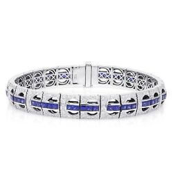 Natural Blue Sapphires 5.88 ct and Diamonds set in stylish 18KWG Bracelet