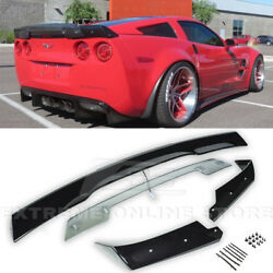 For 05-13 Corvette C6.5 Glossy Black Abs Rear Spoiler W/ Light Tinted Wickerbill