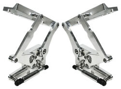 New 69-70 Mustang Polished Solid Frame Hood Hinges And Gas Springs For Steel Hoods