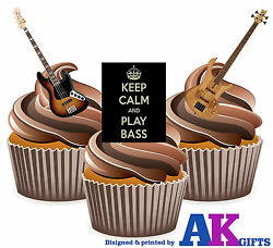Precut Keep Calm And Play Bass Guitar 12 Edible Cupcake Toppers Decorations