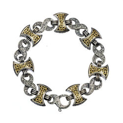 Double Axe Link Bracelet Byzantine For Men's 18k Gold And Silver 925