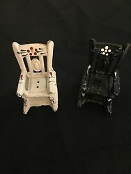 Vintage Dollhouse Miniature Metal Rocking Chairs Salt And Pepper Shakers Two