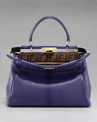 FENDI Large Peekaboo Tote Violet  Zucca Brown Gold Limited Edition NEW RARE!