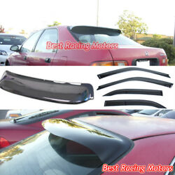 JDM Style Side Window + Rear Roof Visors Fit 92-95 Honda Civic 4dr