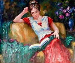 Girl Reading By Sergey Ignatenko. Original Oil Painting On Canvas - Perfect