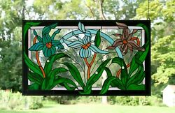 34.75 X 20.5 Handcrafted Stained Glass Window Panel Iris Lady Slipper Orchids