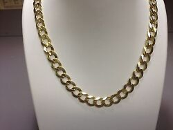 14k Solid Yellow Gold Comfort Curb Link 22 7 Mm 25 Grams Chain/necklace Cc180