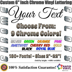 6 Inch Custom Chrome Letters Numbers Decal Sticker Vinyl Boat Car Truck Window