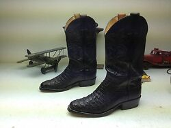 Justin Black Horned Back Lizard Leather Western Cowboy Boots Size 8 M