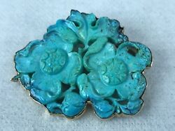Antique 14k Yellow Gold And Large Genuine Turquoise Gemstone Brooch