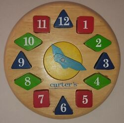 Learn To Tell Time Clock Wood Shapes Colors Moveable Hands Solid Carterand039s