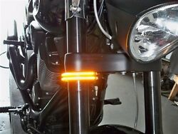 39mm Fork Led Turn Signal Double Light Bars For Hd Sportster And Dyna Smoked Lens