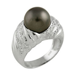 Fancy 14k White Gold Ring With 11-12mm Tahitian Pearl And 0.76ct Diamonds.