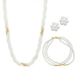 3 Rows 3-4mm Button Pearl Necklace, Bracelet And Flower Studs, Gb, 14k.