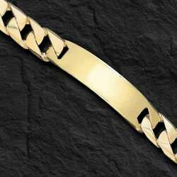 10k Solid Yellow Gold Handmade Menand039s Id Curb Link Bracelet 14 Mm 43 Grams 8.5