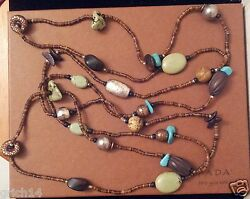 Silpada Ss Howlite Jasper Copper And Wood Beads Salwag Shell Necklace N1569