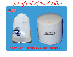 6 Set Of Engine Oil Filter And Fuel Filter Fits Chevrolet Gmc Isuzu 5.2l Diesel