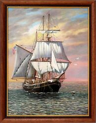Sailing Oil Painting Of Sea Scape And Boat By American Artist Georgina Nemethy