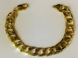 10kt Solid Yellow Gold Handmade Curb Link Mens Chain Bracelet 9 30 Grams 13mm
